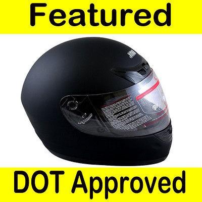 Motorcycle Full Face Sports Bike Street Helmet Matte Black DOT Size M