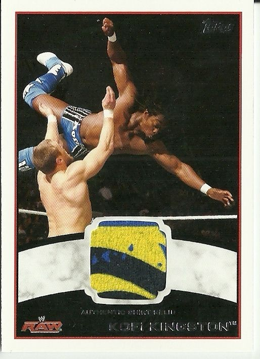 2012 Topps WWE Kofi Kingston 3 Color Shirt Swatch Relic Card Very Cool