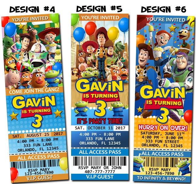 Toy Story Birthday Ticket Invitations Party Jessie Buzz Woody Gang