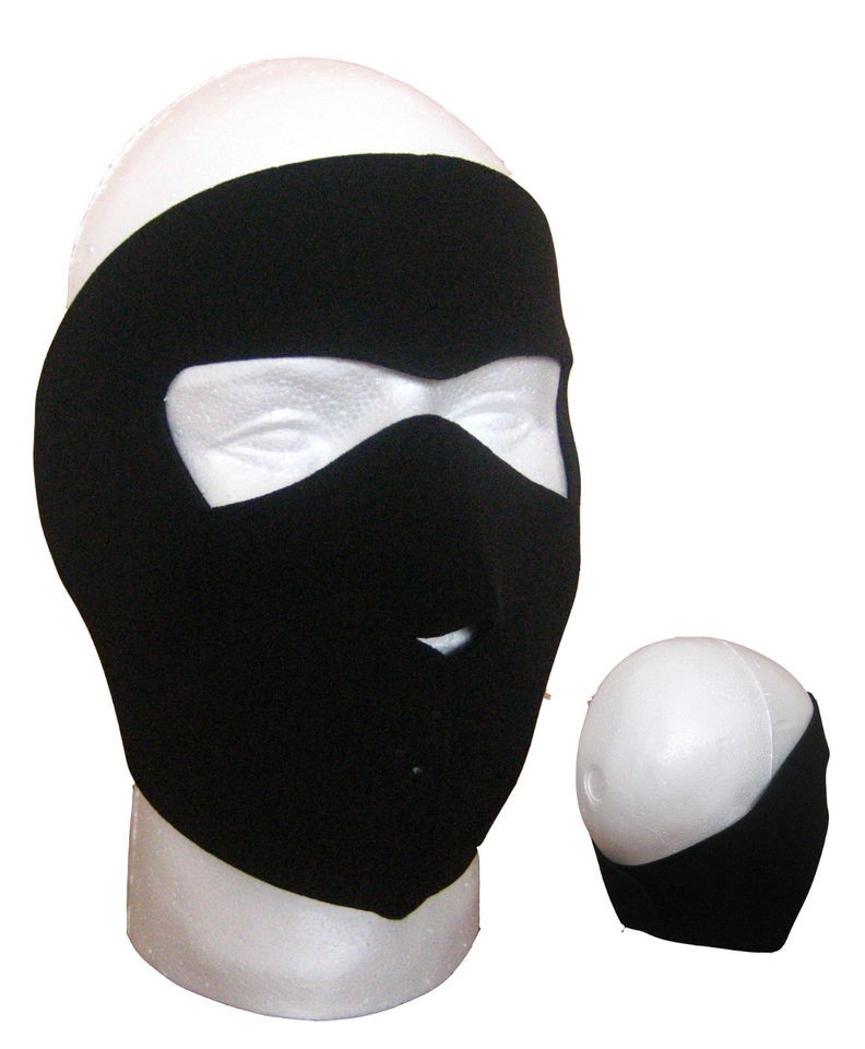 Black Neoprene Full Face Mask   Biking, Ski, Cycling