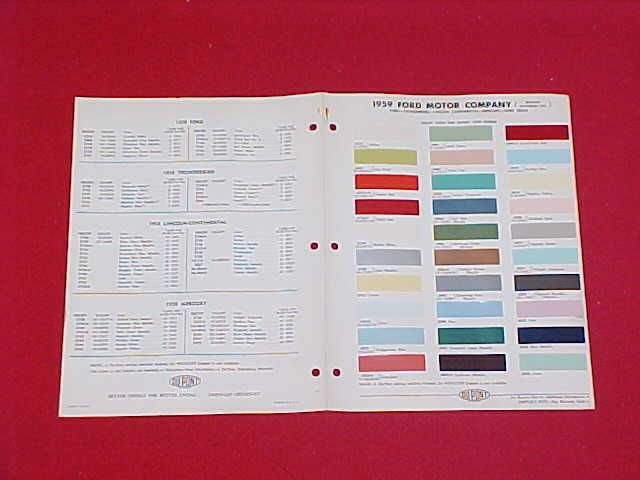 THUNDERBIRD CAR TRUCK PAINT CHIPS CHART BROCHURE W/ SPRING COLOR 59