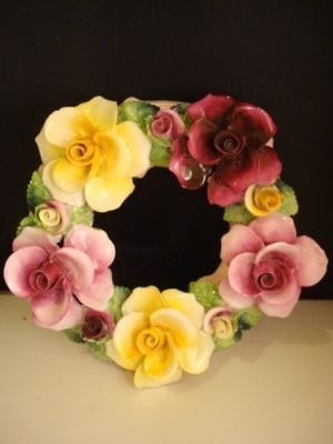 Radnor bone china Staffordshire England porcelain flower wreath