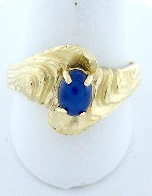 YELLOW GOLD 7x5mm OVAL BLUE STAR SAPPHIRE DIAMOND CUT SWIRL THICK RING