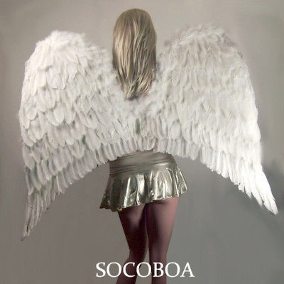 SUPER LARGE White Feather Angel Costume Wings Men Halloween XXL Fairy