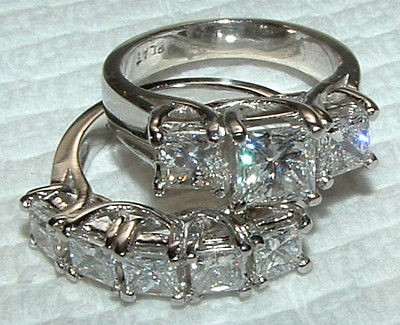 carat WHITE GOLD DIAMOND RING wedding band SET new