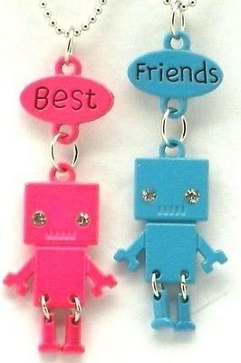 Best Friend Robot Charm 2 Pendant 2 Necklace Blue Pink Friendship BFF