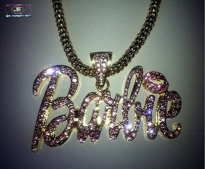 Nicki Minaj Hip Hop BARBIE Iced Out Necklace Gold/Pink NEW
