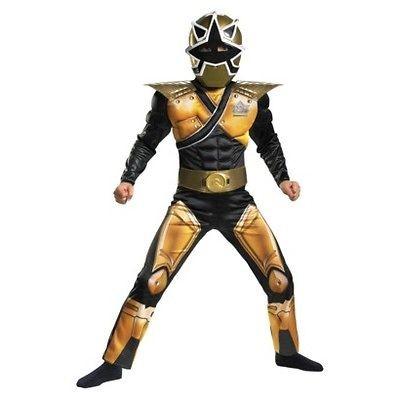 Power Rangers Samurai MEGA Gold Ranger Costume S 4 6 Boys Child Kids