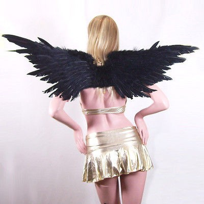 Black Feather Angel Wings Halo costume party halloween fairy Adult