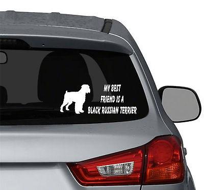 best friend is a Black Russian Terrier Dog vinyl car window stickers