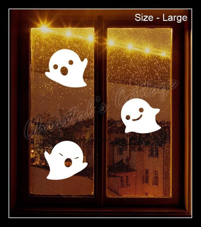 Large Ghosts Cute Halloween Wall Window Decoration Car Sticker Scary