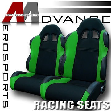 2x Universal LH+RH Blk/Green Fabric & PVC Leather Sport Racing Seats