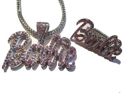 ICED OUT NICKI MINAJ BARBIE NECKLACE RING PINK FRIDAY P