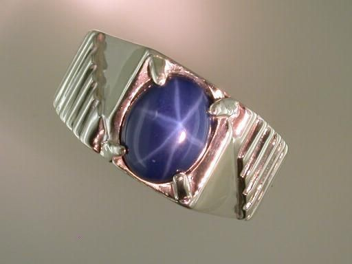Oval Synthetic Blue Star Sapphire Ring Sterling Silver