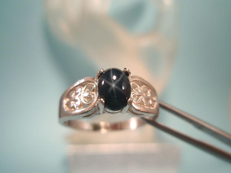SAPPHIRE   Genuine Blue Star Sterling Filigree Ring 0.95ct   FREE