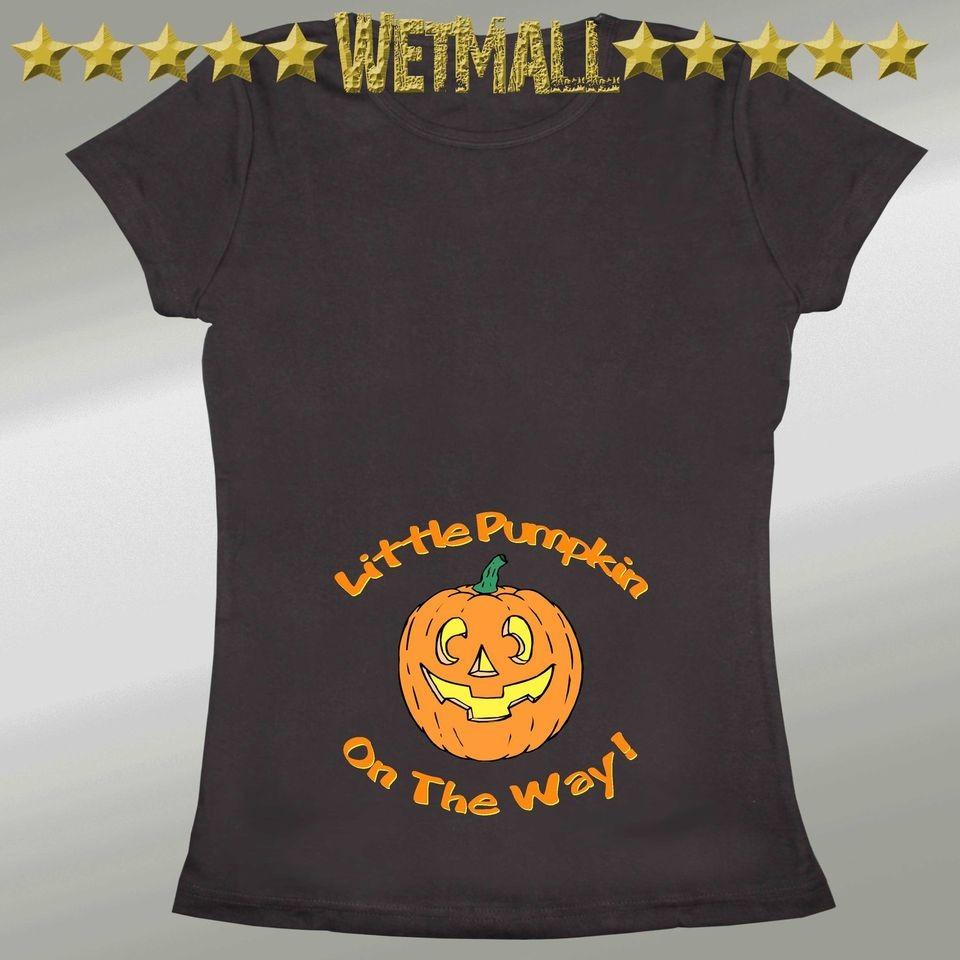 pumpkin on the way halloween costume funny maternity tee t shirt