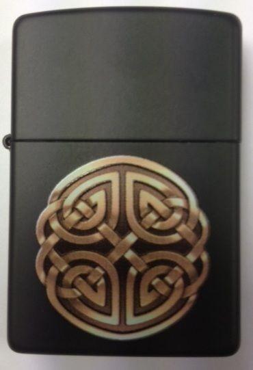 Celtic knot ZIPPO LIGHTER Irish Souvenir Matte Black FREE ENGRAVING