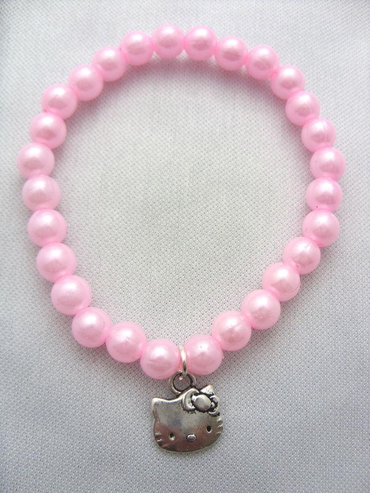 Pink Kids, Girls Hello Kitty Charm Bracelets Wristbands, Party
