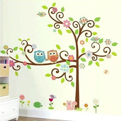 Large Scroll Tree Wall Decal Art Vinyl Nursery Stickers Removable Baby