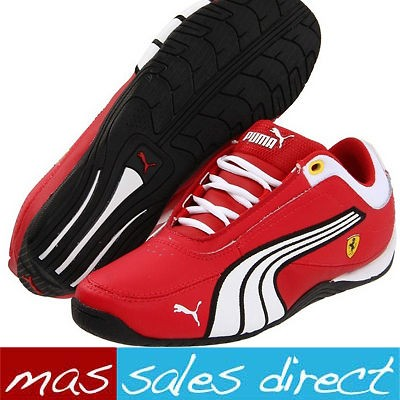 BOYS FERRARI DRIFT CAT 4 JUNIOR KIDS SHOES MOTORSPORT TRAINERS RED UK