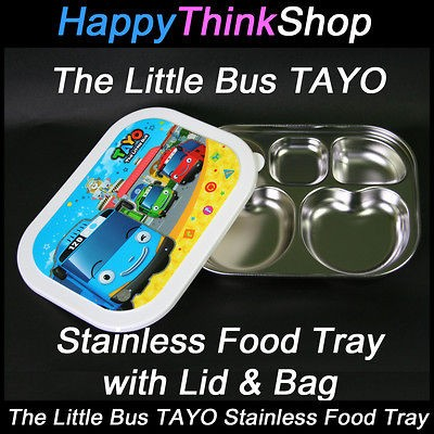 The Little Bus TAYO Stainless Steel Food Tray with Lid and Bag for