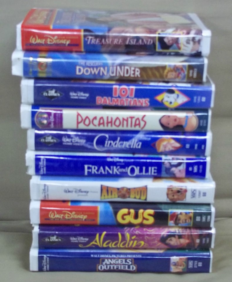 10 dif WALT DISNEY Video White Clamshell Cases VHS Tapes GUS Air 101