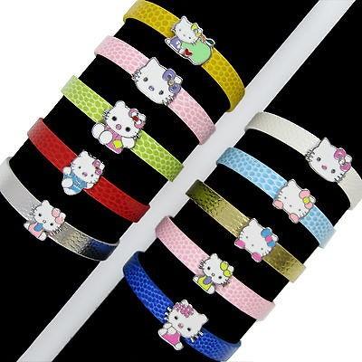 10PCS fashion 8mm Slide hello Kitty Charms Bracelet Kids Birthday