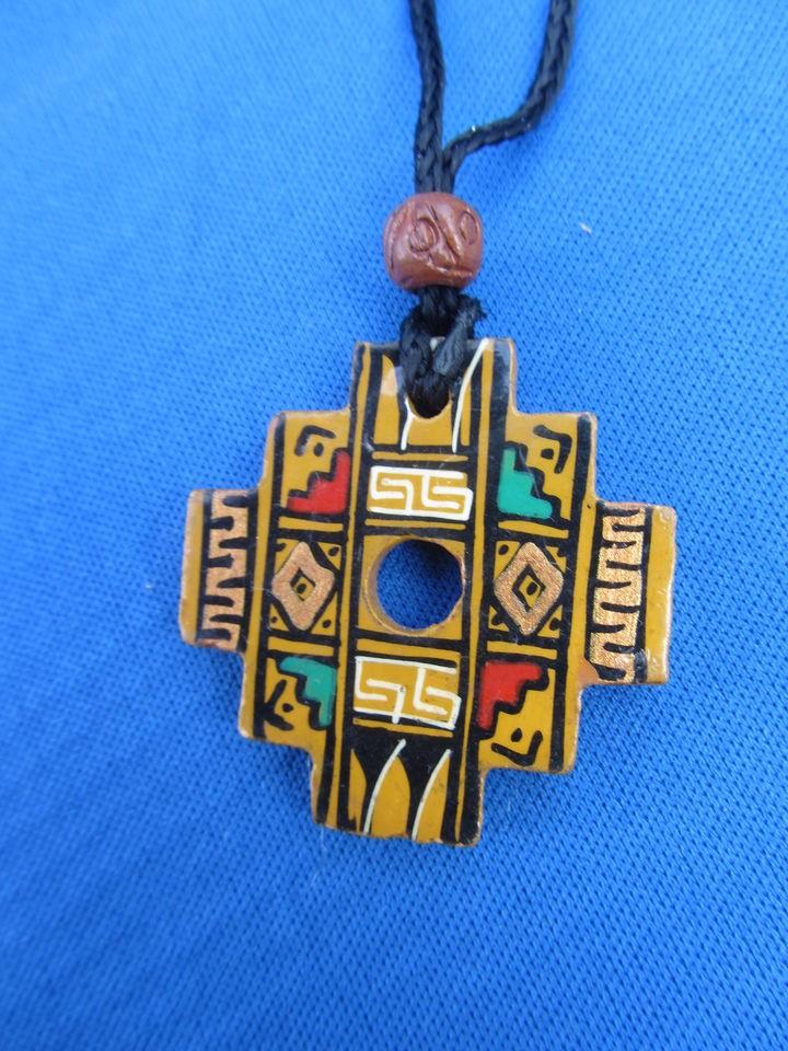 Inca cross ceramic necklace chakana isla del sol bolivia f aloadofball Images