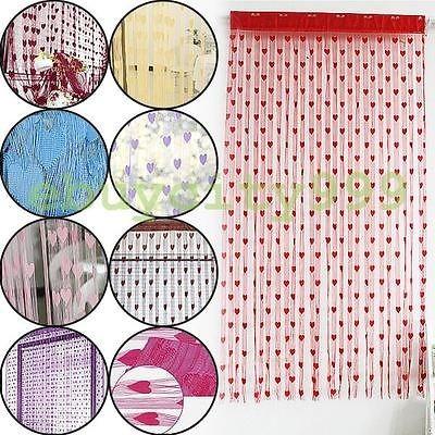 Door Window Romantic Heart Shaped String Yarn Curtains Room Divider
