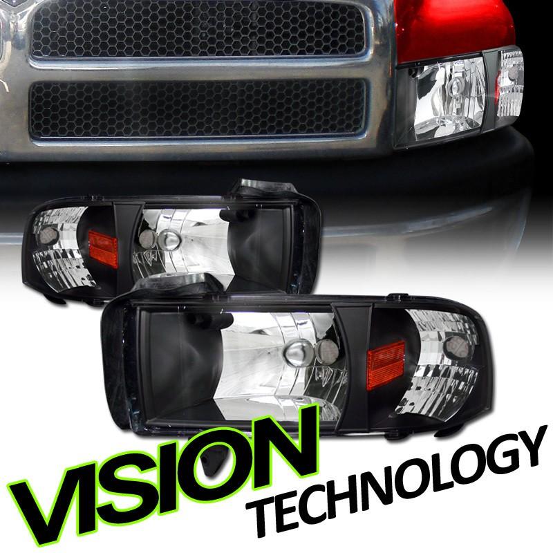 Pair 94 02 Dodge Ram Pickup/Truck JDM Black Crystal Head Lights+Corner