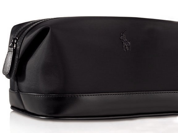 029bc3ec9779 Polo Ralph Lauren Dopp Shave Bag Hi Tech Fabric   Faux Black Leather