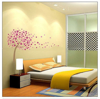 Giant Pink Cherry Blossom Flowers Tree Wall Stickers Decor Art Mural