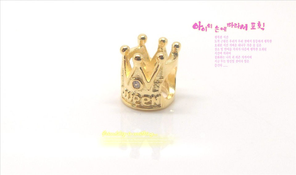 925 Silver Core with 14K GOLD Ladies Crown European Bead CHARM GP004