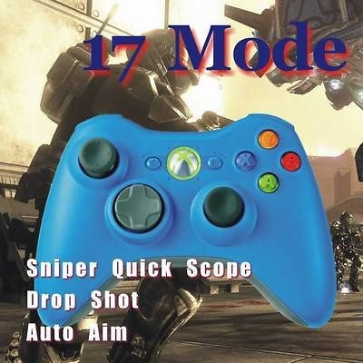 New Quick Scope Xbox 360 Rapid Fire Modded Blue Controller 17 Mode for