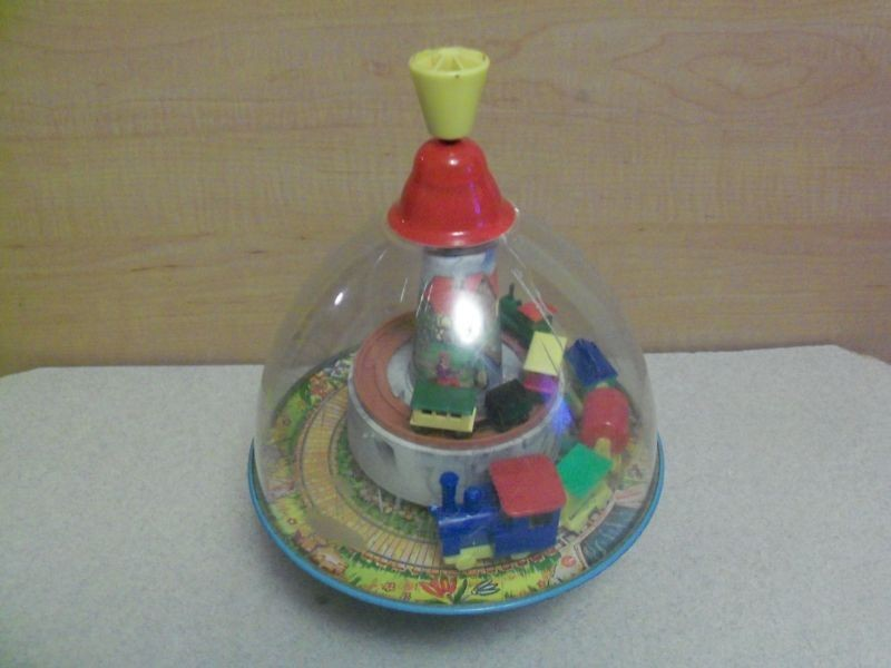 germany lillian vernon domed spinning top toy tin time