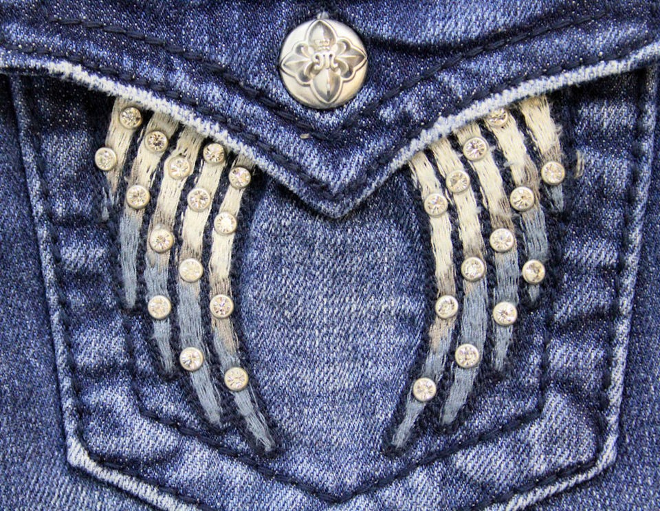 MISS ME Jeans Thick Embroidery Stitch Angel Wings Crystals Boot Size