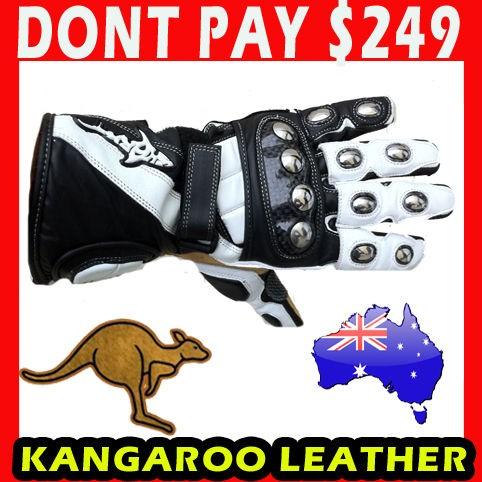 Shark TPSW Extreme Kangaroo Leather Motorcycle Road Race Gloves