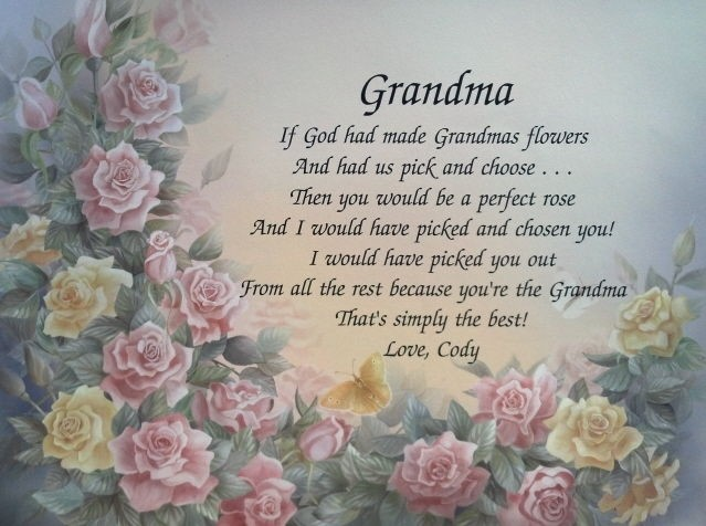 grandma personalized poem birthday or christmas gift one day shipping