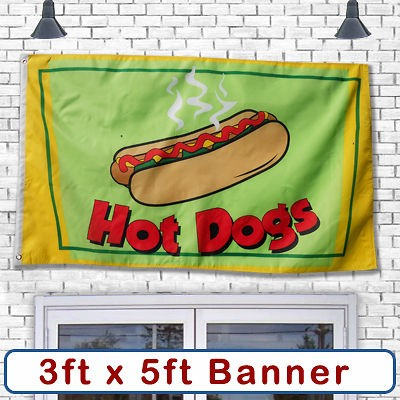 HOT DOG Banner Sign Flag Restaurant Business Commercial Stand Cart Big