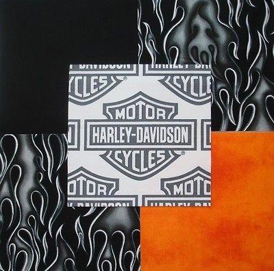 32 6 HARLEY DAVIDSON Logo Shield Black flames Orange Quilt Fabric