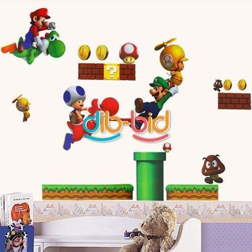 New Super Mario Bros PVC Removable Wall Sticker Home Decor For Kids