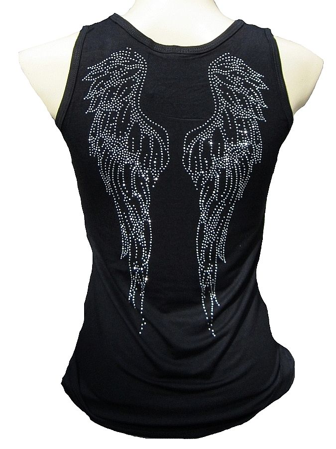 Rockabilly Punk Rock Baby Angel Wings Religion Diamante Rhinestone