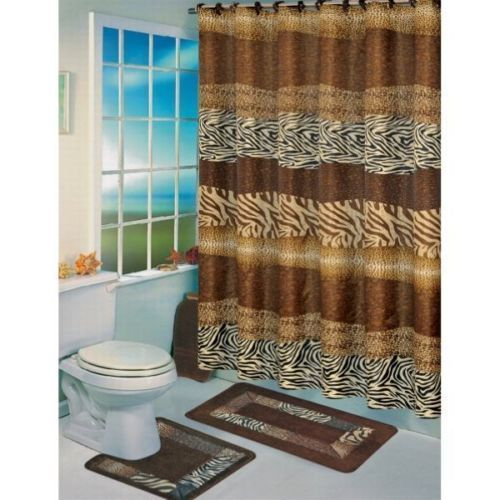 Wild Animal Print Jungle Safari Zebra Leopard Bath Shower Curtain Rug