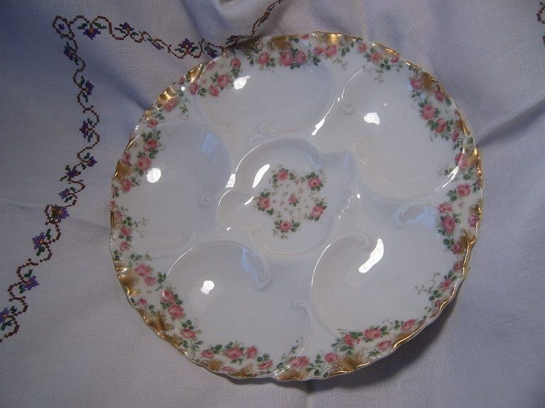 Antique Haviland Limoges 5 Well Porcelain China Floral Oyster Plate