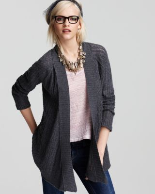 Aqua New Gray Cashmere Ribbed Trim Long Sleeves Open Front Cardigan