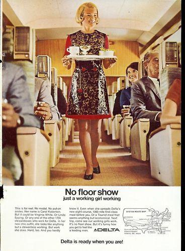 1969 Delta Airlines Stewardess Ad Carol Koberlein Smile