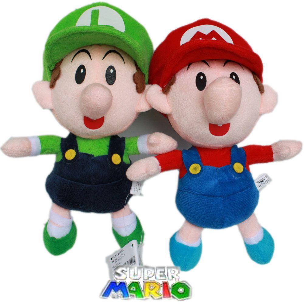 Nintendo Super Mario Brothers 2pcs Plush Toy Baby Mario Luigi 9 22cm