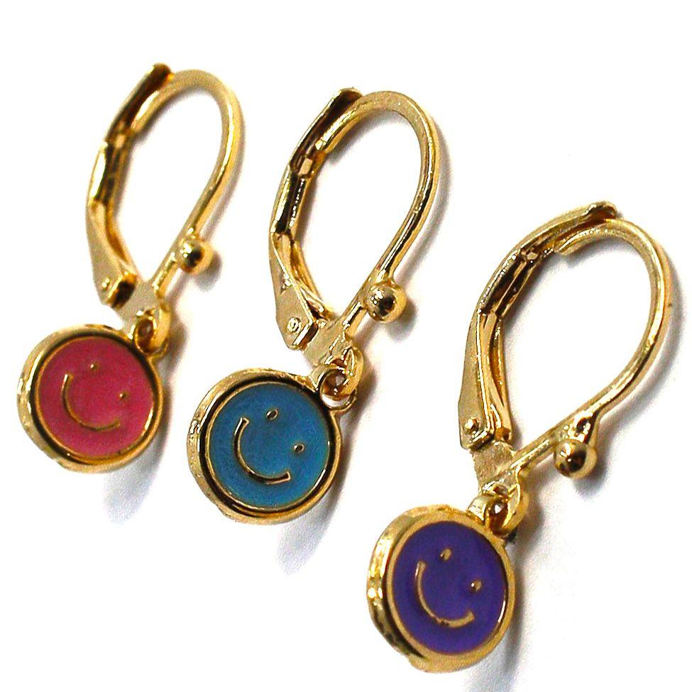 Gold 18K GF Earrings Purple Pink Baby Blue Enamel Happy Face Leverback