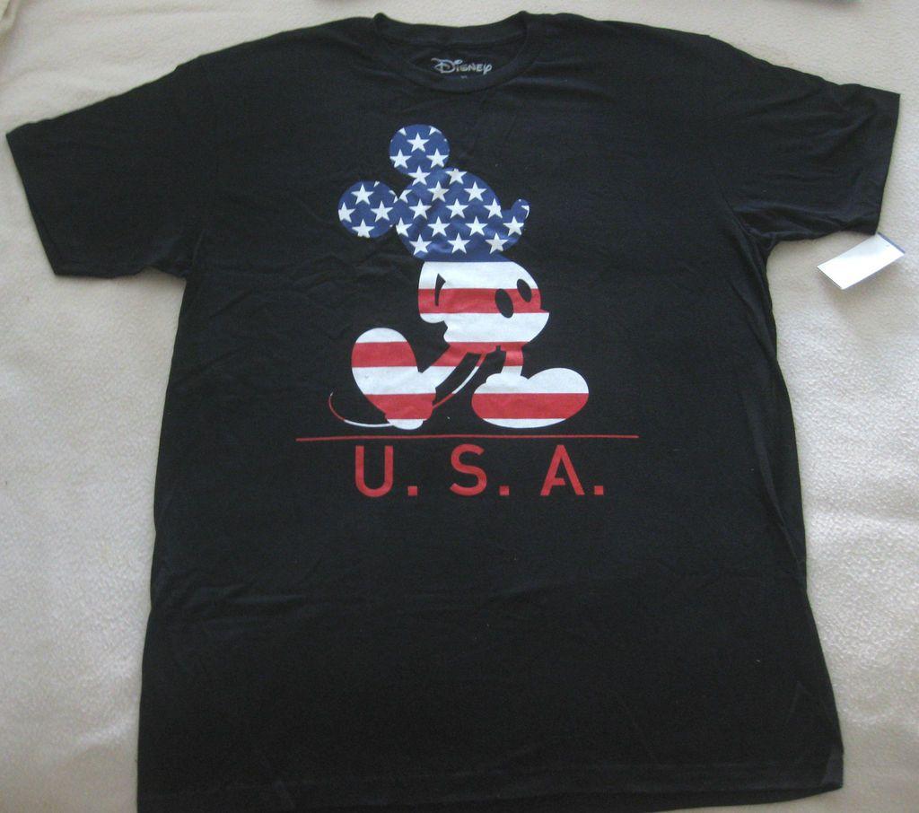 MENS SIZE XL DISNEY MICKEY MOUSE USA FLAG DESIGN T SHIRT NWT