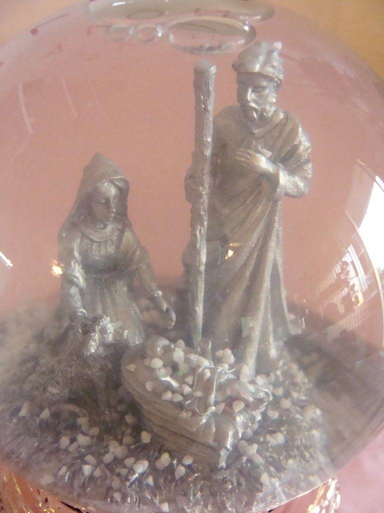 Christmas Holiday Snow Globe Baby Jesus Mary Joseph